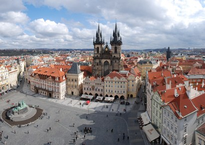 Prague central square and church in old town