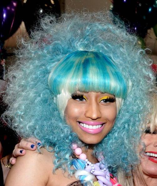 NEW YORK, NY - SEPTEMBER 12:  Nicki Minaj poses backstage at the Betsey Johnson Spring 2012 fashion show during Mercedes-Benz Fashion Week at The Theater at Lincoln Center on September 12, 2011 in New York City.  (Photo by Mike Coppola/Getty Images for Mercedes-Benz Fashion Week)