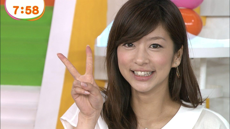 カメラに向かってピースをするアナウンサー、生野陽子